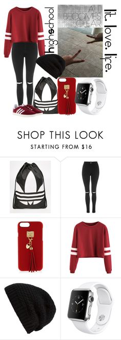 """""""Highschool #4"""" by veewers ❤ liked on Polyvore featuring adidas, Topshop, Henri Bendel, Rick Owens and Apple"""