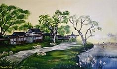"""This is a piece of one of a kind original fine art Acrylic painting of Natural Landscape painted by artist Liu .on canvas , Realistc Paintings or Life Like Paintings.SIZE: 71cm x 51cm x 2.5cm /28""""x20"""" ,Signed on the front; Dated on the back., It was done in 2014. It's on sail for $599. For more details visit our website http:// www.start1stgo.com ."""