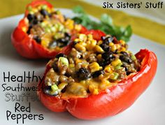 Southwest Southern Stuffed Red Peppers For the filling: 1/2 lb lean ground turkey 1 can of black beans, rinsed and drained 1 can of sweet corn, rinsed and drained 1 large diced tomato 1 clove of garlic, minced 4 Tablespoons of chopped onion 3 Tablespoons of Taco Seasoning 1 Tablespoon of Cumin salt to taste 3 red bell peppers 1/3 cup chicken broth Cheddar cheese