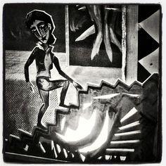 Saksalainen #ekspressionismi karkaa #akkunasta #tatuointiliike #Krunikassa #Krunikka #akkunasa. #näyteikkunassa #näyteikkuna #tatska #inkki #katutaidetta #Helsinki #streetart in #windowshopping at #tattoparlor #window pure german #expressionism #art  #mustavalkoinen #näkymä