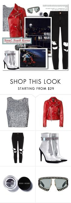 """""""How to Style a Red Leather Jacket with Silver Metallic Booties, a Sparkly Top and Black Jeans for Travel to Seoul, South Korea"""" by outfitsfortravel ❤ liked on Polyvore featuring Dsquared2, River Island, Off-White, Bobbi Brown Cosmetics and Gucci"""