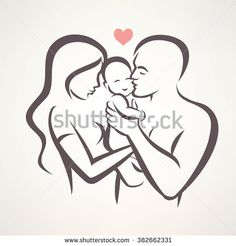 Illustration about Happy family stylized vector symbol, young parents and child. Illustration of romantic, line, sketch - 76612325 Pencil Art Drawings, Art Drawings Sketches, Easy Drawings, Tattoo Famille, Father And Baby, Mother And Baby Tattoo, Mother Son, String Art, Clipart