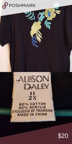 28b1e4c573c Allison Daley Black Sweater Adorable short sleeve black sweater from Allison  Daley. Sweater has detail