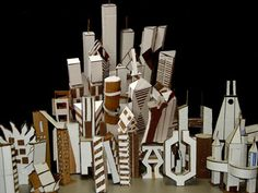 Lesson Plan by Edra Soto Projects For Kids, Art Projects, Project Ideas, Cardboard City, 8th Grade Art, High School Art, Arts Ed, Art Lesson Plans, City Art
