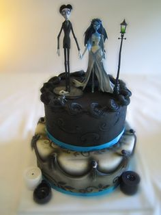 corpse bride wedding cake - I saw this cake in the gallery and made my own version of it. Thanks for watching.