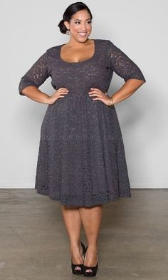 Harlow Lace Dress - Charcoal [WRAP01705] - $99.95 : Womens Plus Size Clothing - Plus Size Fashion - WRAP Plus Sized Clothing, Plus Sizes 12-36 - Affordable plus size fashion, fashionable plus size clothing - Free Express Post On Orders Over $50!