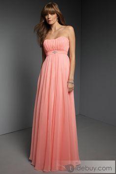Charming A-Line Strapless Sleeveless Floor Length Chiffon Bridesmaid Dress