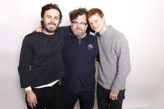 """Director Kenneth Lonergan poses with actors Casey Affleck, left, and Lucas Hedges for a portrait to promote the film """"Manchester by the Sea"""" during the Sundance Film Festival on Jan. 24, 2016 in Park City, Utah."""