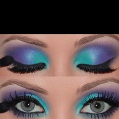 Purple teal eye shadow
