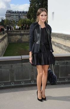 peplum blazer, black dress, black on black