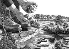 "Michael Halbert: Scratchboard illustration of a giant farmer standing in a field. Used as a two-page spread advertisement in a trade magazine. The idea was to show that the client was ""A Giant in His Field."""