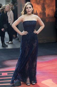 Elizabeth Olsen Strapless Dress - Elizabeth Olsen was a vision in a subtly sparky navy strapless gown by Elie Saab during the 'Godzilla' premiere in London.