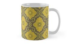 """""""""""Golden flowers"""", floral pattern, bohemian arabesque, yellow and brown"""" Mugs by clipsocallipso 