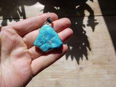 Turquoise silver set pendant