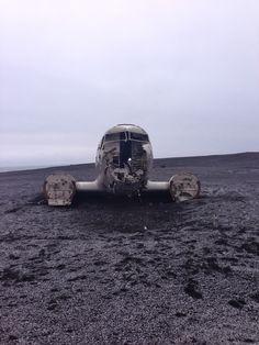 Abandoned crashed plane on the Black Sand Beach in Vik, Iceland.