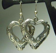 Vintage Sterling Silver Estate Jewelry Large Filigree Heart Dangle Earrings