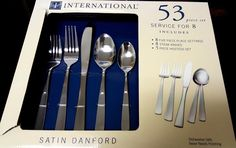 Intl Silver Satin Danford Stainless 53 pc 8 Settings 8 Steak Knives 5 Serve pcs #InternationalSilver