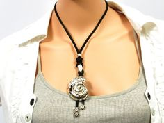 Spiral necklace for women  black leather necklace by CozyDetailz