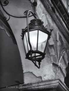 One of the famous light lanterns of the Liston. Corfu Greece, Photo B, Black And White Photography, Lanterns, Greek, Lights, Street, Black White Photography, Lamps
