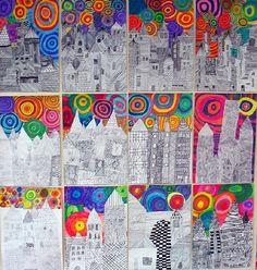 Cityscape- black line drawing against the richly colored skies ILOTULITUS Club D'art, Classe D'art, 4th Grade Art, Ecole Art, School Art Projects, Middle School Art, Primary School Art, Art Lessons Elementary, Elements Of Art
