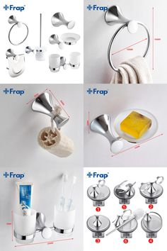 [Visit to Buy] Frap  6 Pieces Bathroom Accessories Robe Hook Towel Ring Toothbrush Cup Toilet Paper Holder Toilet Brush F35T6 #Advertisement