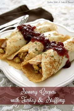 Savory Crepes with Turkey & Stuffing~ a new twist on holiday leftovers! (Crepes made WITH mashed potatoes!) from Butter With A Side of Bread (Leftover Potato Recipes) Thanksgiving Leftovers, Thanksgiving Recipes, Fall Recipes, Holiday Recipes, Leftovers Recipes, Turkey Recipes, Chicken Recipes, Churros, Savory Crepes