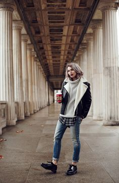 When it's getting colder outside I prefer more comfy clothes. This style is pure grunge, but still edgy with the distressed jeans, the Dr. Martens shoes and some layering. It's a casual street style from Berlin