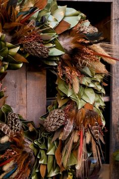 beautiful magnolia leaf/seed pod/Pheasant feather fall wreath
