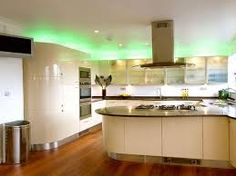 Kitchen Beautiful Kitchen Lighting Design Apply Green Neon Light Combine With Small Ceiling Lights Also Some Lighting In Kitchen Hood Important Ideas Of