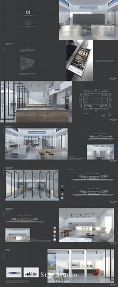 [Stay Studio] 인테리어 포트폴리오 Interior Portfolio / 키친 쇼룸 … - All About Decoration Portfolio Design Layouts, Layout Design, Portfolio Examples, Design Design, Baroque Architecture, Architecture Design, Architecture Portfolio, Interior Design Portfolios, Interior Design Sketches