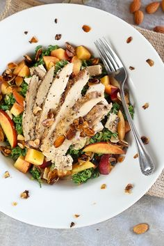 Kale, Chicken and Peaches Salad - http://delectablesalads.com/recipe/kale-chicken-and-peaches-salad/
