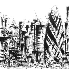 """""""LONDON CONSTRUCTED"""" Original, contemporary cityscape painting on canvas, created in black and white with textured acrylic paints. Featuring famous London landmarks St Paul's Cathedral and the Gherkin. #cranes #industriallondon #londoncranes #monochromelondon http://www.hannahvanbergen.co.uk/cityscapes/497998_london-constructed.html"""