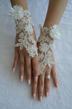 Extra long ivory frame wedding glove Bridal Glove by UnionTouch