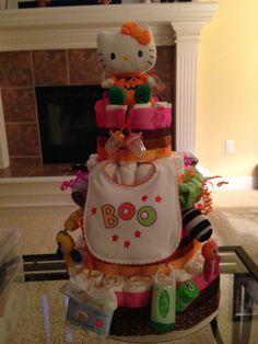 Halloween Baby Girl Diaper Cake- Hello Kitty dressed up as little pumpkin for little pumpkin themed shower