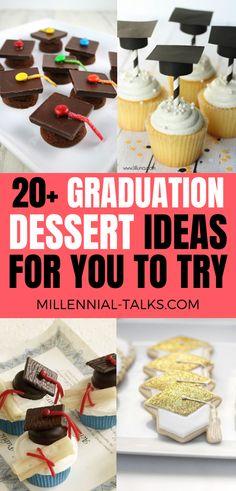 Delicious Graduation Dessert Ideas For Your Party - Millennial Talks Unique Desserts, Desserts To Make, Delicious Desserts, Graduation Party Desserts, Graduation Cupcakes, Graduation Ideas, Dessert Table, Dessert Ideas, Flourless Chocolate Cakes