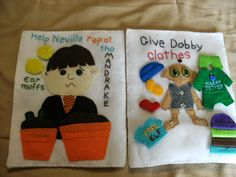 I made the book pages out of heavy pellon and sewed felt onto it for the pictures. Harry Potter Quilt, Harry Potter Nursery, Harry Potter Diy, Diy Quiet Books, Felt Books, Cadeau Harry Potter, Craft Projects, Sewing Projects, Quiet Book Templates