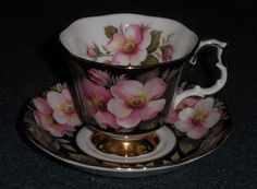Royal Albert Alberta Rose Footed Teacup & Saucer Xmas Gift - $0.99 Starting Bid! #RoyalAlbert