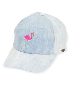An embroidered flamingo adds girlish charm to the front of this comfy  cotton cap. Flamingo f88e964f20b7