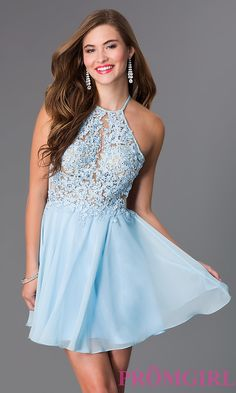 Image of short light blue a-line lacy illusion bodice open back dress Front Image