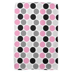 Modern Pink Gray Black Circles Kitchen Towels