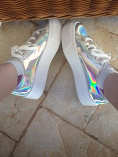 Shop from the best fashion sites and get inspiration from the latest platform shoes. Sneakers Fashion, Fashion Shoes, Shoes Sneakers, Shoes Heels, Pumps, Holographic Fashion, Kawaii Shoes, Hype Shoes, Dream Shoes