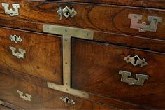 Colonial Mahogany & Brass Military Campaign Chest - Antiques Atlas
