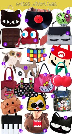 Minha Boutique de Luxo: Top 20 – Bolsas divertidas Unique Purses, Cute Purses, Purses And Bags, Diy Kawaii Bags, Diy Bags Patterns, Novelty Bags, Use E Abuse, Girls Bags, Vintage Purses