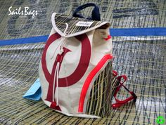 Handmade Sail Bag from old used sails. All Sails Bags are made with different design, one by one. Kite Sailing, Sailing Trips, Greek Blue, Backpack Pattern, Boat Accessories, Sailing Outfit, National Championship, Thessaloniki, Small Boats