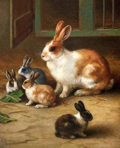 animales-en-arte: Edgar Hunt (British, 1876-1953) - Conejitos