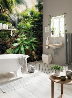 WOW... I want one of these jungle waterfall wallpaper murals in my bathroom. Such a cool optical illusion - makes it look like a real tropic paradise