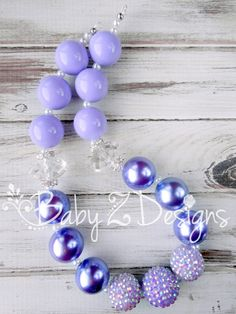 Lavender Pearl Gumball and Rhinestone Chunky Necklace by babyzdesigns