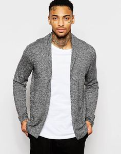 """Cardigan by ASOS Lightweight, warm knit Soft-touch finish Shawl collar Open front Regular fit - true to size Machine wash 55% Nylon, 30% Merino Wool, 15% Acrylic Our model wears a size Medium and is 185.5cm/6'1"""" tall"""