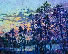 The Woodlands Texas landscape artwork by impressionist painter Erin Hanson