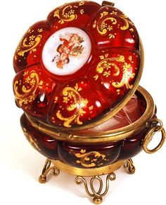French Napoleon III Red Glass Bonbonnière w/Hand-Painted Enamel Medallion